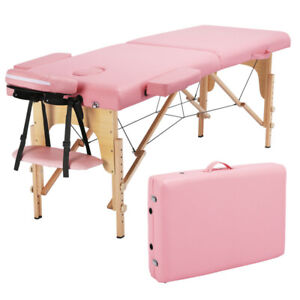 Foldable Portable Massage Table Chair Bed Spa Facial Pu Leather Spa Bed Pink