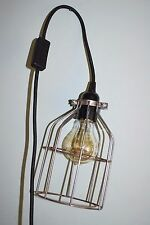 Vintage Industrial Pendant Steel Wire Cage Desk Lamp with E27 Edison Bulb
