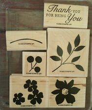 Stampin' Up BEST BLOSSOMS Set of 6 Rubber Stamps Lot Flower Cherry Thank You