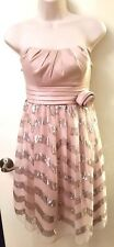 Womens Juniors CITY TRIANGLES dress 9 chevron sequins bridesmaid prom pink tulle
