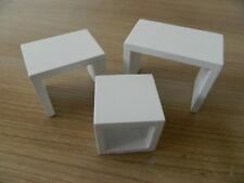 (HP1.25) DOLLS HOUSE WHITE WOODEN MODERN NEST OF TABLES