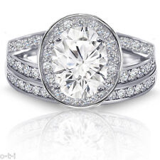 Set - Genuine Sterling Silver Oval Simulated Diamond Halo Engagement Ring