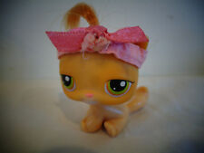LITTLEST PET SHOP LPS ORANGE CAT W/HAIR & RIBBON HEADBAND #78 GREEN EYES