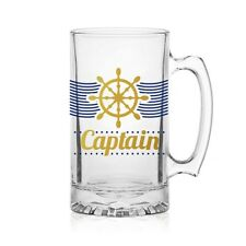 Nautical Captain Glass Beer Tankard 1 Pint. Ideal for boat and Yacht Owners