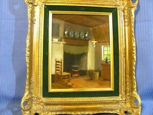Vintage Oil Painting Colonial Interior Still-Life by William Heykoop (listed)