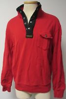 MENS VNTG Ralph Lauren POLO RED HENLEY STYLE 1/4 ZIP RED SWEATSHIRT BLACK TRIM