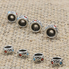DIY Charm Tibetan Silver Turquoise Round Spacer Beads Jewelery Bracelet Making