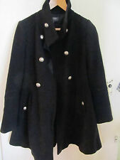 Black Thigh Length M&S Military Style Coat in Size 6