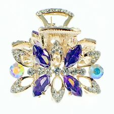 USA HAIR CLAW CLIP use Swarovski Crystal Hairpin Elegant Flower Gold Purple K04