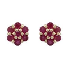 Pendientes de joyería con gemas rojo natural rubí
