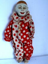 """Antique Early German Paper Mache Clown Pierrot Doll Hand Painted 16 1/2"""" tall"""