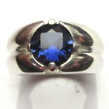 MJG STERLING SILVER MEN'S RING. 10MM FACETED LAB BLUE SAPPHIRE. SIZE 10