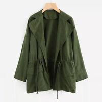 Ladies Women Long Sleeve Jacket Windbreaker Parka Pocket Cardigan Thin Blet Coat
