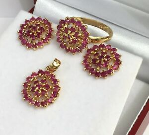 14k Solid Yellow Gold Cluster Pendant Earrings Ring Set, Natural Ruby 8 Grams