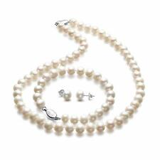 Freshwater Cultured Pearl Necklace Set Bracelet and Stud Earrings White (White)