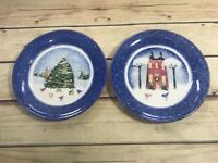 Nikko Winter Wonderland Set 2 Christmas Salad Dessert Plates Dishes Holiday Wear