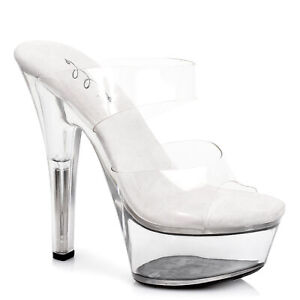 "Ellie 601-COCO Clear 6"" Heel Clear Sandal"