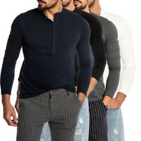 Men Henley Shirts Long Sleeve Fitness Muscle Basic Tee Blouse T-shirt Jumpers NY