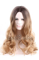 Hot New Women Long Curly Wavy Hair Cosplay Black Root Ombre Blonde Wig Full Wigs