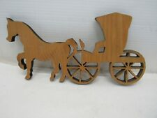 Hand Made Amish Buggy Wood Carved Wall Hanging