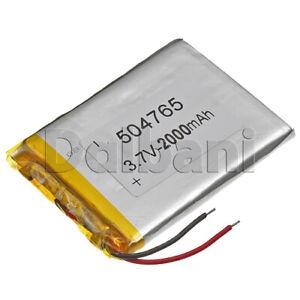 504765, Internal Lithium Polymer Battery 3.7V 2000mAh 50x47x65mm