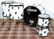 Sonor SQ2 Maple Med Solid White w/ Black BD Hoops & Hrdw  22bd,10&12tts,14&16fts