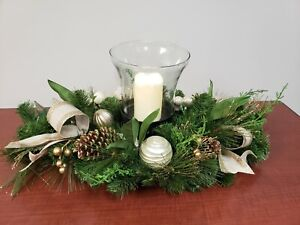 Ivory & Gold 32 Inch Centerpiece with LED Candle & Glass Hurricane