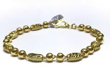 24k Solid Yellow Gold Diamond Cut Hollow Bead Link Bracelet 7 Inches 8.11g
