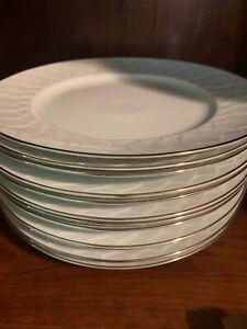 Rosenthal Germany White Silver Lotus Dinnerware Set 12 Dinner Plates Lot Dishes