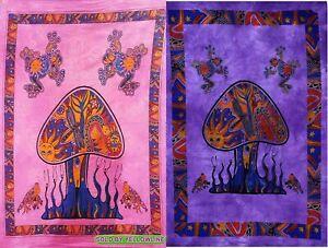 2 piece Mushroom Tapestry Bohomen Indian Wall Hanging Wholesale (77cmX102cm)PP-1