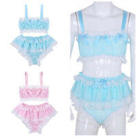 Men Lace Lingerie Set Sissy Pouch Briefs Panties +Bra Tops Bikini Underwear Set