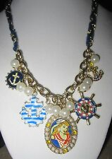 """Betsey Johnson """"Anchor Boost"""" Pin-Up Girl Multi-Charm Necklace, 19"""""""