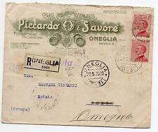 1925 REGNO MICHETTI 60 CENTESIMI 2 VALORI SU RACCOMANDATA OMEGNA 23/5 C/5938