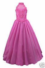 New Girl Pageant Wedding Graduation Prom Formal Dress 7 8 10 12 14  Fuchsia Pink