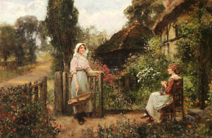 Huge Oil painting Henry John Yeend King - Friendly Neighbors young women in view
