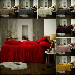 Teddy Bear Fleece Duvet Cover Set Thermal Sherpa Warm Soft Quilt Thermal Bedding