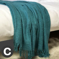 Luxury Mohair Woollen Feel Blanket Throw Teal Aqua Blue Large Bed Sofa Fringe