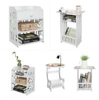 Side Table Modern Nightstand Printer Stand Wood Storage Rack Shelf Waterproof