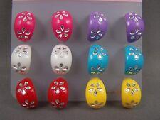 Set 6 pair flower design huggie hoops stud post posts earrings studs