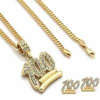 "Mens 14k Gold Plated Emoji 100 Cz Pendant Hip-Hop 30"" 3mm Cuban Chain & Earrings"