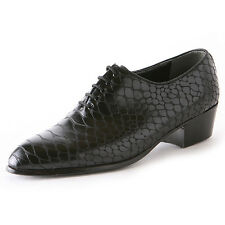 Men's pointed toe snake embossed synthetic leather lace up high heels oxfords