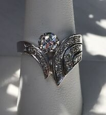 Art Deco BRILLIANT DIAMOND RING 14K WHITE GOLD .38 CTW W/APPRAISAL Size 9