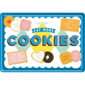 Tin Sign 10294 - Eat More Cookies - 3 7/8X5 1/2in - New