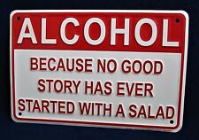ALCOHOL Better Than Salad *US MADE* Embossed Sign Man Cave Garage Bar Wall Decor