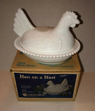 Vintage Indiana Authentic White Milk Glass Hen on a Nest #7155 in original box