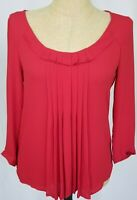 Ann Taylor Loft Women's Top Small Red 3/4 Sleeve Pleated Scoop Neck Shirt NWT