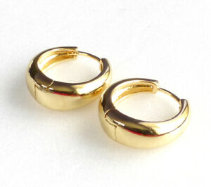 Women Men 19mm Creole Hoop Earrings 14K 18K 24K Yellow Gold Plated Snap Close UK
