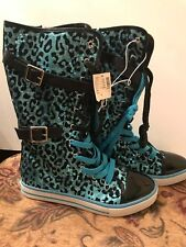 NWT Girls Justice Size 8 Blue & Black High Lace Up Sneaker/Boot