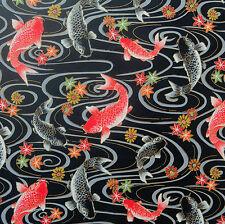 Koi Carps Black Japanese Cotton Fabric by Half Metre 50cm TG121