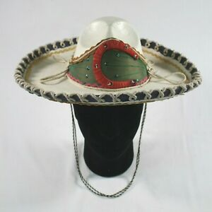 """Vintage Mexican Sombrero Hat Mariachi White Painted Horseshoe 13"""""""